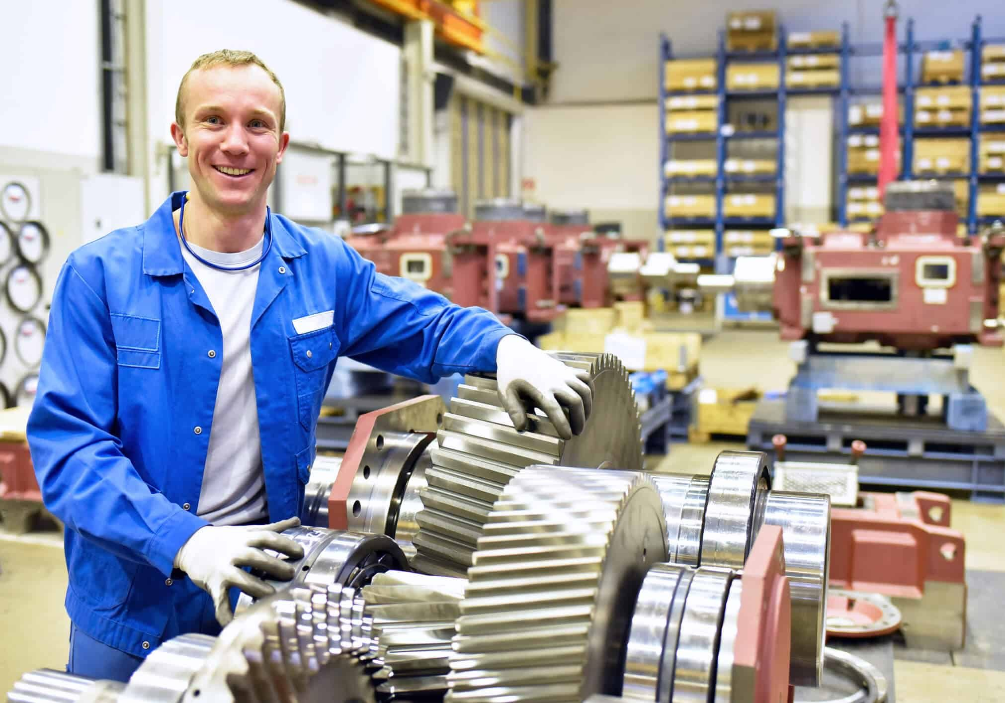 Man with factory equipment